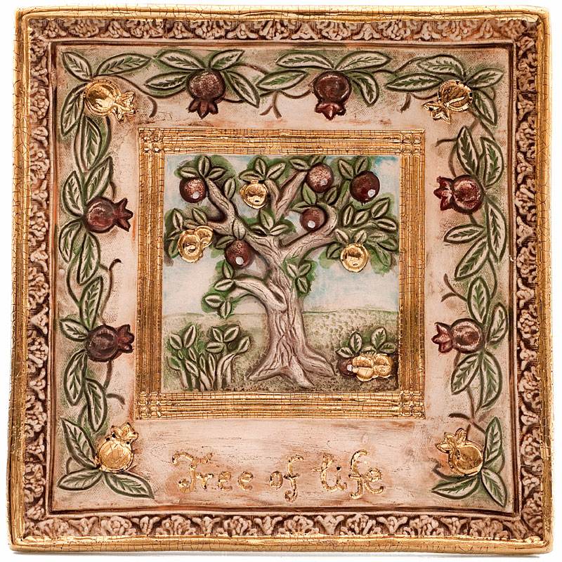 Tree of life square plate lg size