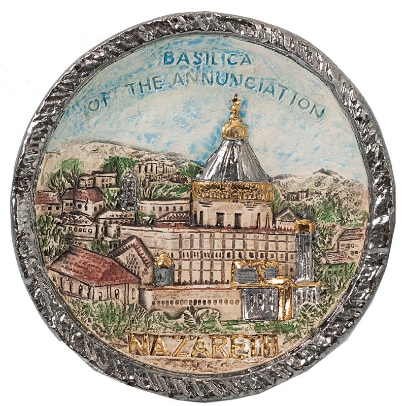 Basilica of annunciation silver border plate