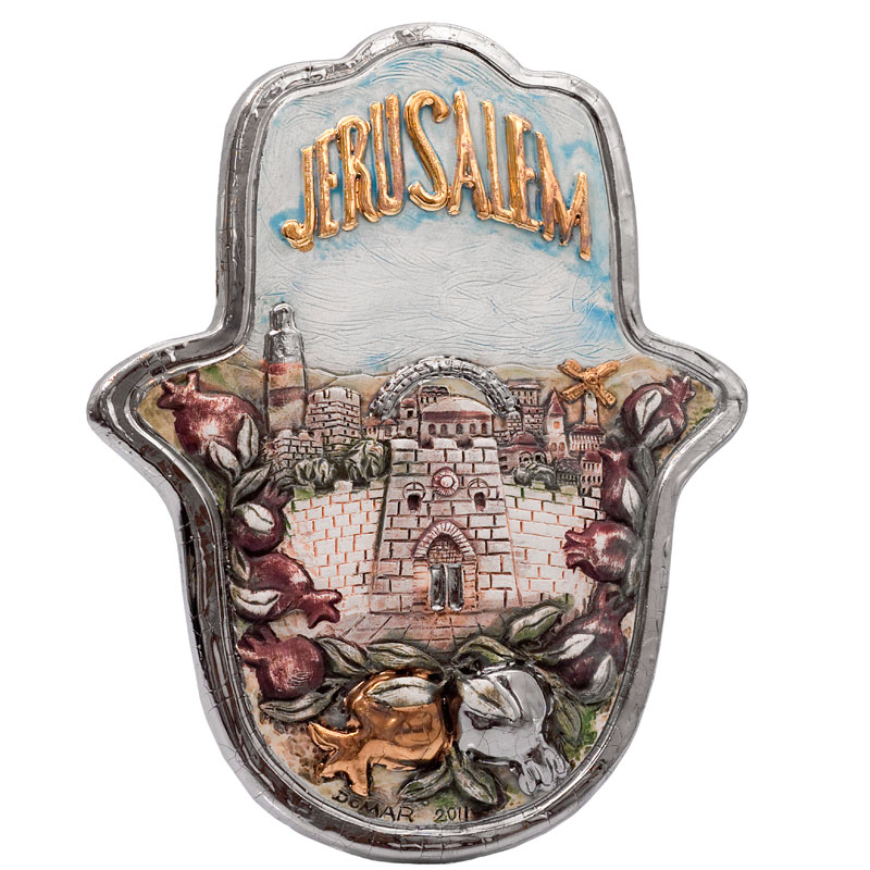 Jerusalem hamsa with pomegranate