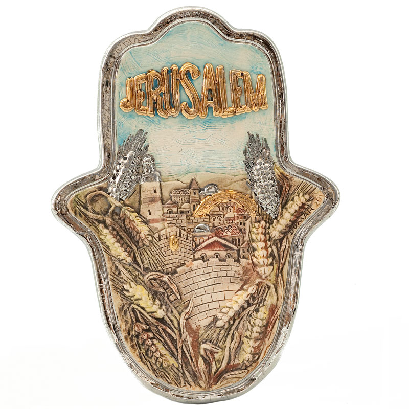 Jerusalem hamsa with wheat branch