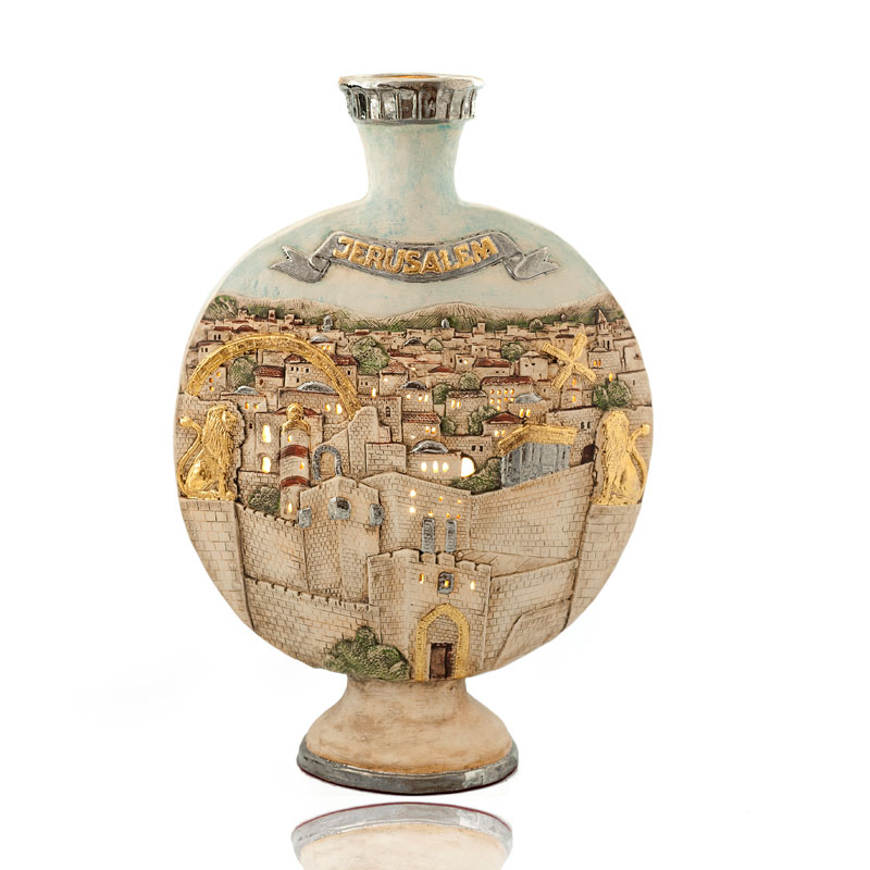Jerusalem old city vase round