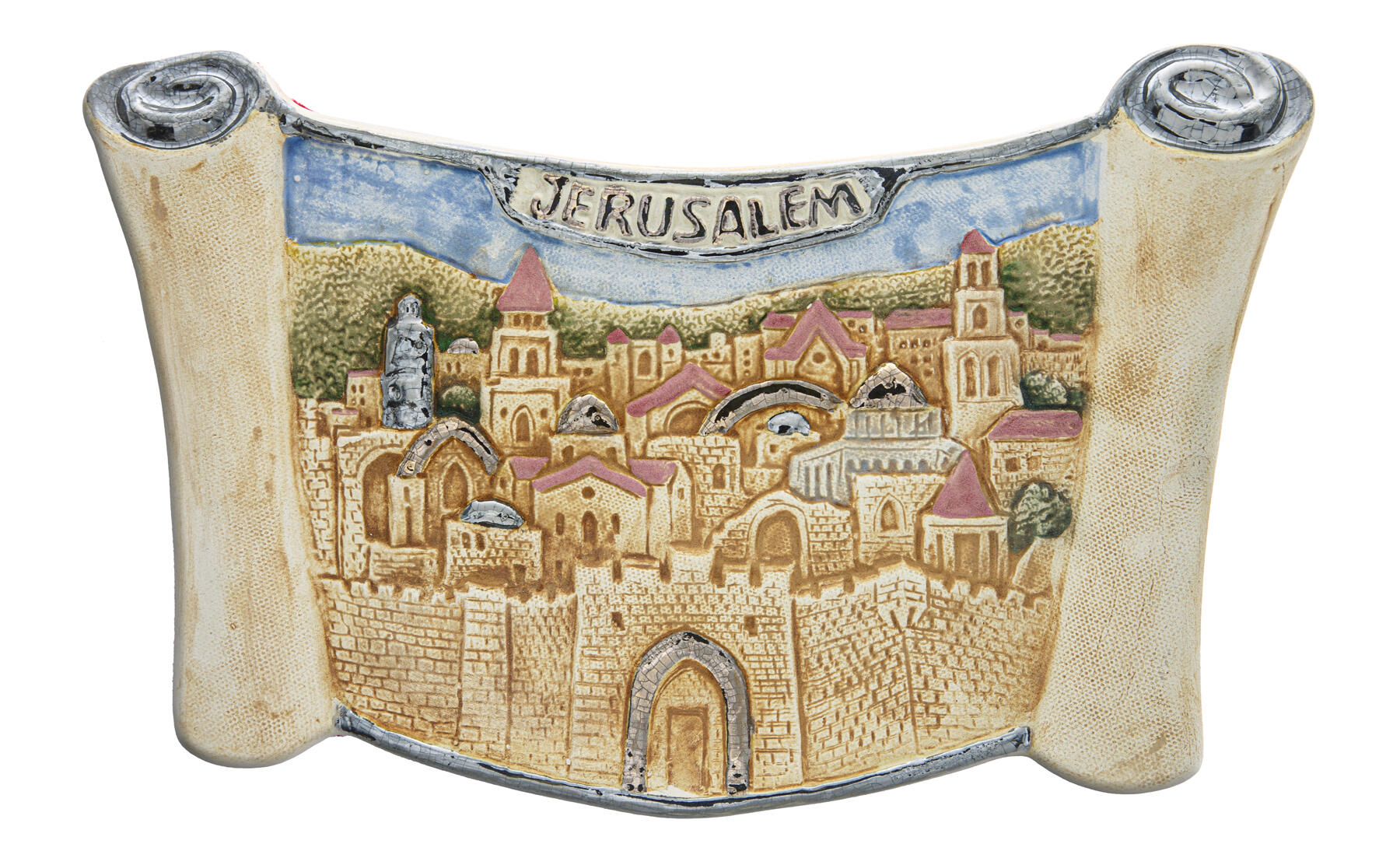 Thorah plate with jerusalem motive 29.5x18.5cm